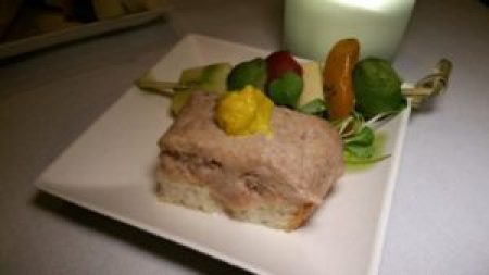Homemade Pate and Cheese on artisan bread, heirloom tomato and olive borchette with fresh thyme