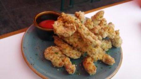 Calamari with wasabi cocktail sauce