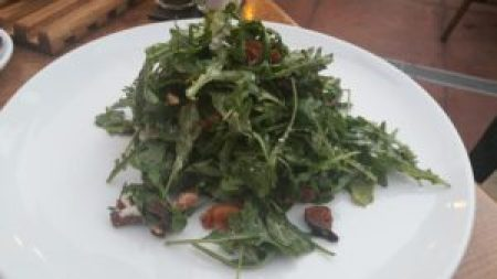 Fig and Arugula Salad, toasted pecans, mano formate pancetta, laura chenel chevre, fig and port vinaigrette