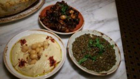 Hummus (EVOO Aleppo Chili), Eggplant Salad (tomatoes, maui onions, chickpeas), Warm Curried Lentils (sherry vinaigrette, cilantro)