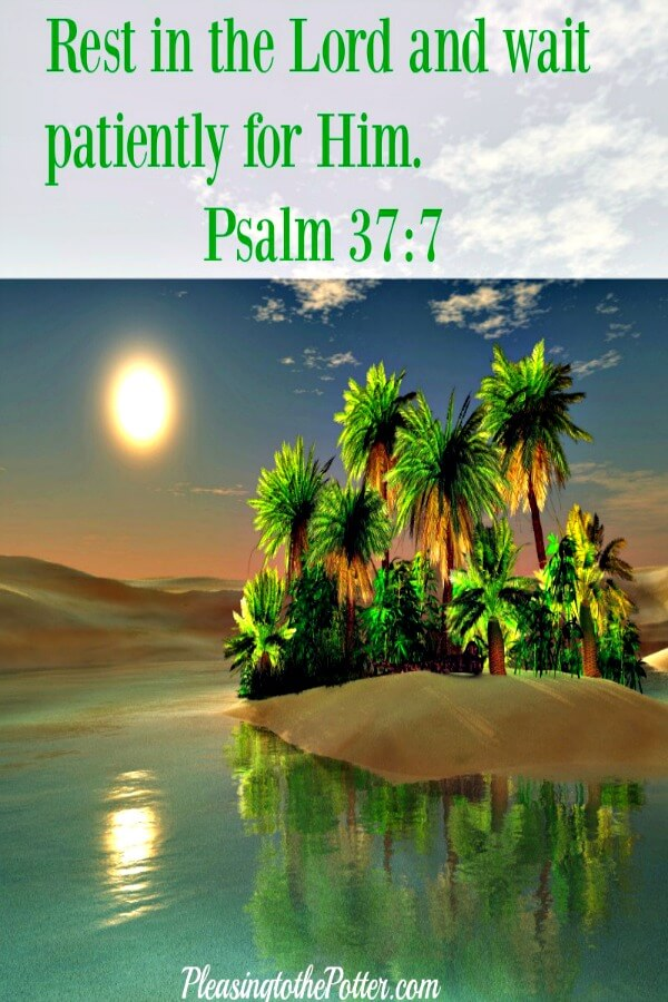 Rest in the Lord and wait patiently for him. Psalm 37:7