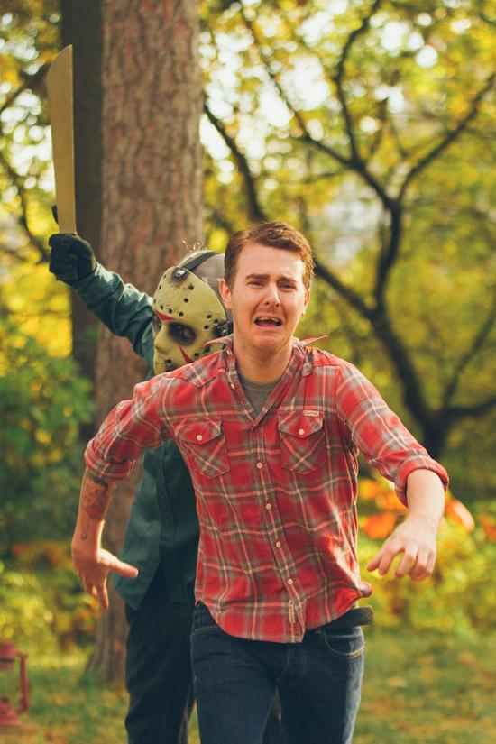 Friday the 13th Themed Engagement Photos  Pleated Jeans