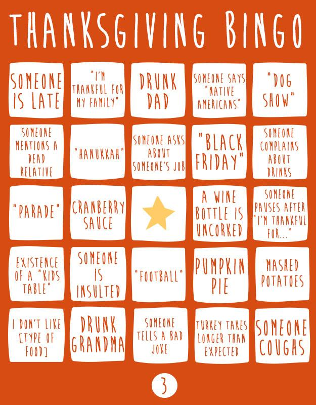 Thanksgiving Day Bingo 4 Cards Pleated Jeans