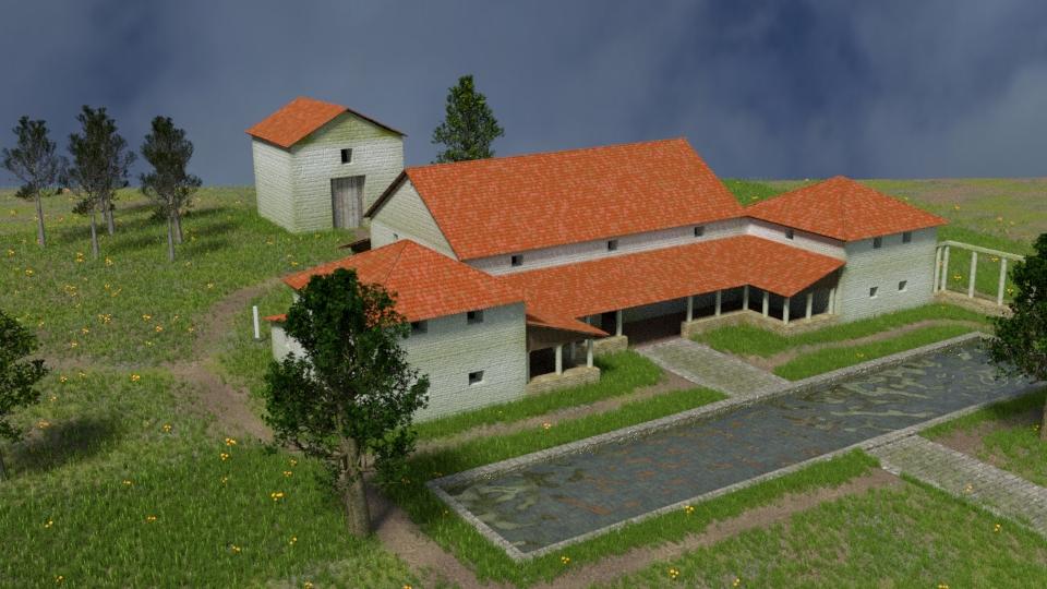 3D-Rekonstruktion der Villa Rustica Großsachsen, Blickrichtung Nord-Ost