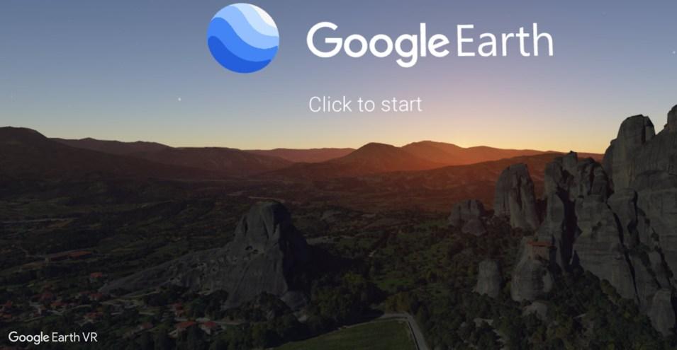 Google Earth VR Startbildschirm