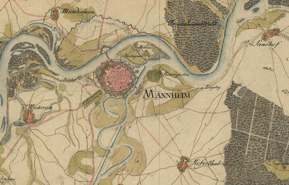 Umgebung von Mannheim auf der Schmitt'schen Karte 1797-1798