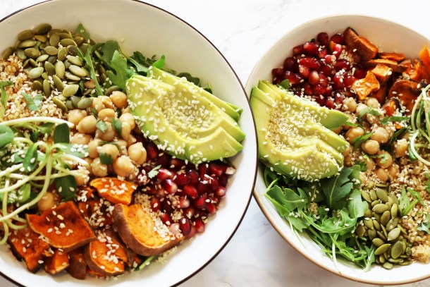 Vegan sweet potato pomegranate buddha bowl recipe
