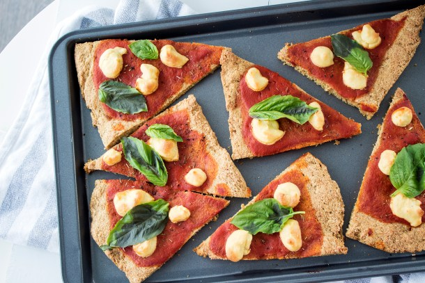 vegan margherita pizza with melty cashew mozzerella