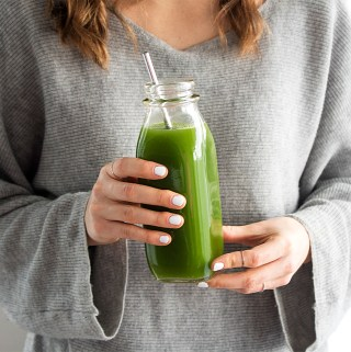 Healthy vegetable homemade green juice without a juicer
