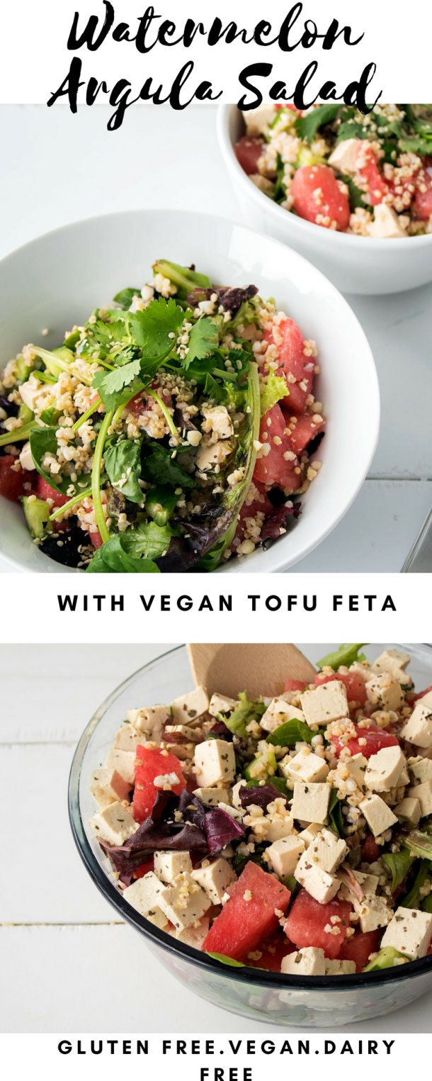 Watermelon Arugula Salad with vegan tofu feta