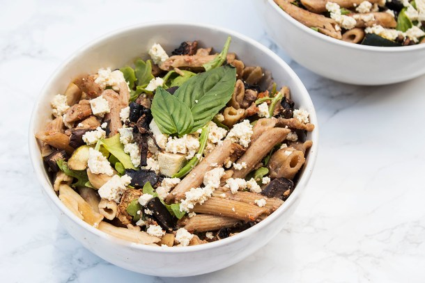 vegan greek pasta salad with sundreid tomato pesto and tofu feta