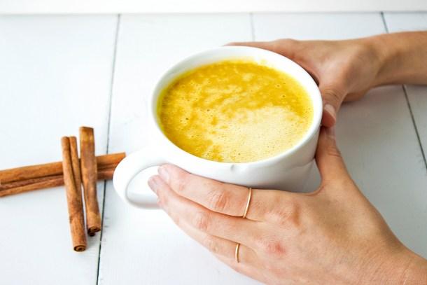 Vegan turmeric pumpkin spice latte refined sugar free