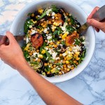 Vegan grilled peach and corn salad