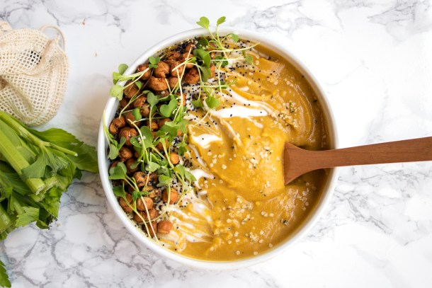 Vegan butternut squash lentil soup