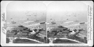 A stereoscopic view of Castle Garden, since renamed Castle Clinton. Castle Garden was the immigrant receiving center in New York City before the larger Ellis Island Immigrant Centre was opened in 1892. It is located at the tip of Manhattan in Battery Park and now serves as the ticket center for ferries going to Ellis Island and the Statue of Liberty. Photo Credit: Wikipedia Commons: Robert N. Dennis collection of stereoscopic views.