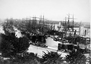 A view of Hamburg Harbour in 1883. Image Credit: Wikipedia Commons, Georg Koppmann.