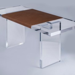 Small Table And Chairs Swivel Desk Chair Without Wheels Leather Wrap Slab - Plexi-craft Signature Collection