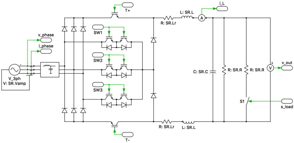 medium resolution of the sr is a unidirectional three phase buck type ac dc converter with power factor correction the sr consists of a three phase diode bridge rectifier