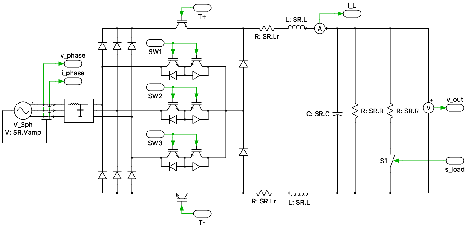 hight resolution of the sr is a unidirectional three phase buck type ac dc converter with power factor correction the sr consists of a three phase diode bridge rectifier