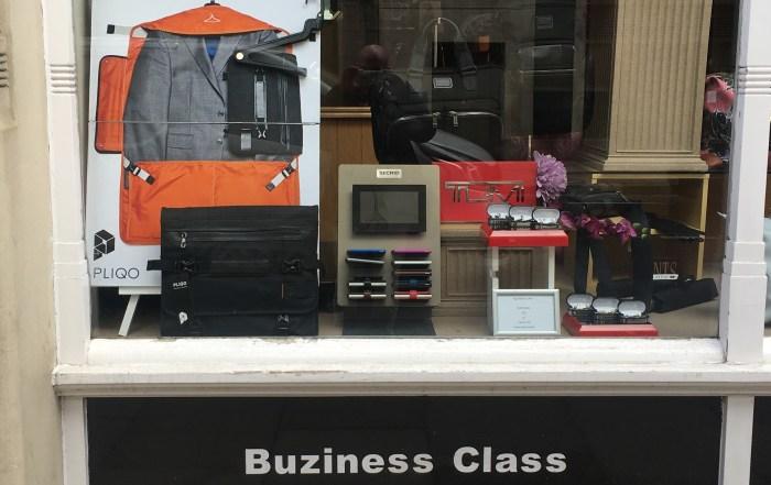 Retailer Buziness Class Shop window in London, UK