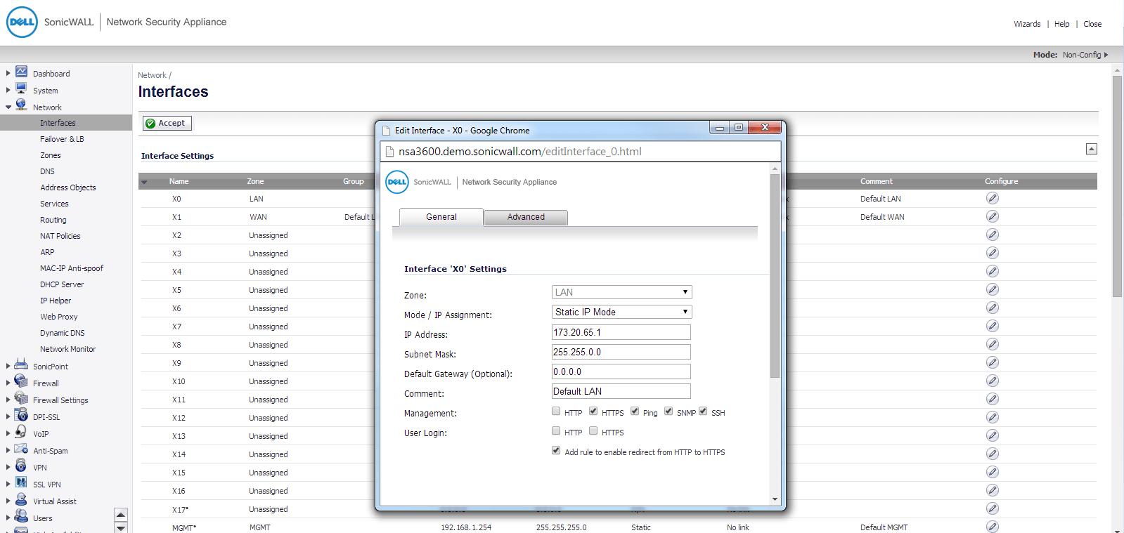 SonicWALL Next Gen NetFlow config