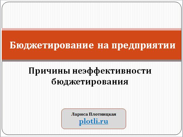 plotli.ru-Плотницкая-Причины неэффективности бюджетирования