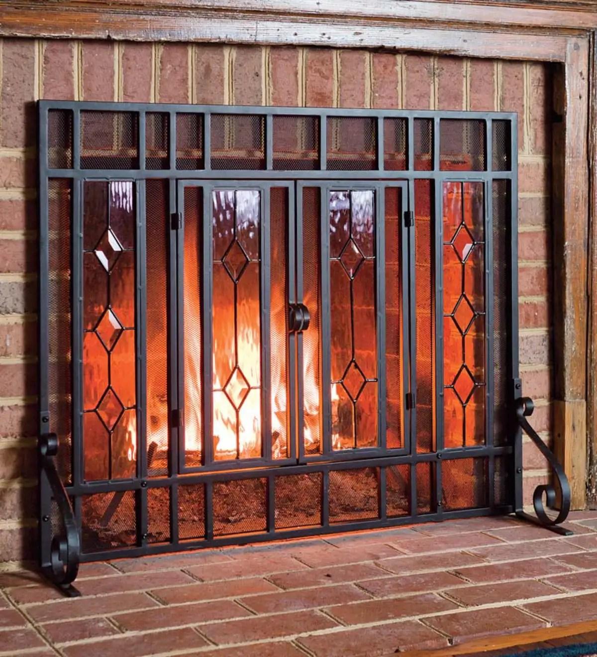 38 W X 31 H Beveled Glass Diamond Fireplace Screen With