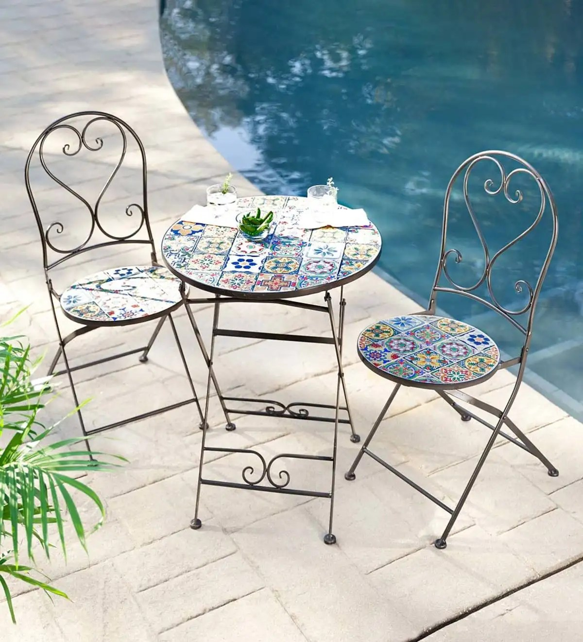 mosaic tile 3 piece bistro set with folding chairs and table
