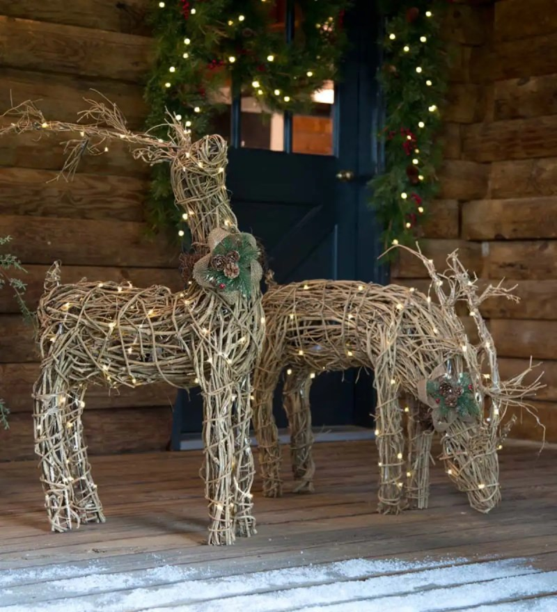 Christmas Decorations Reindeer Wicker ...