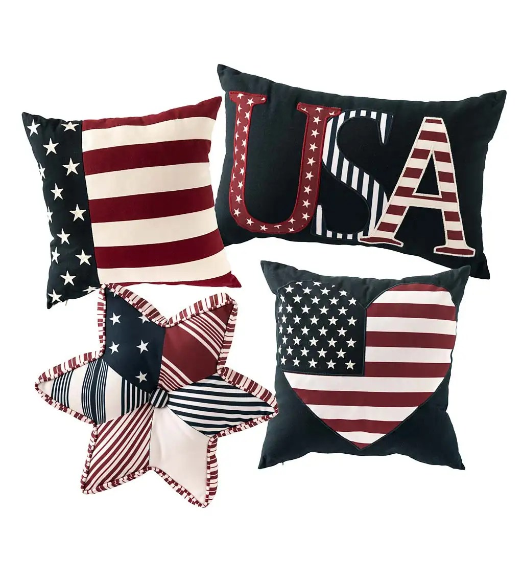 indoor outdoor patriotic throw pillows