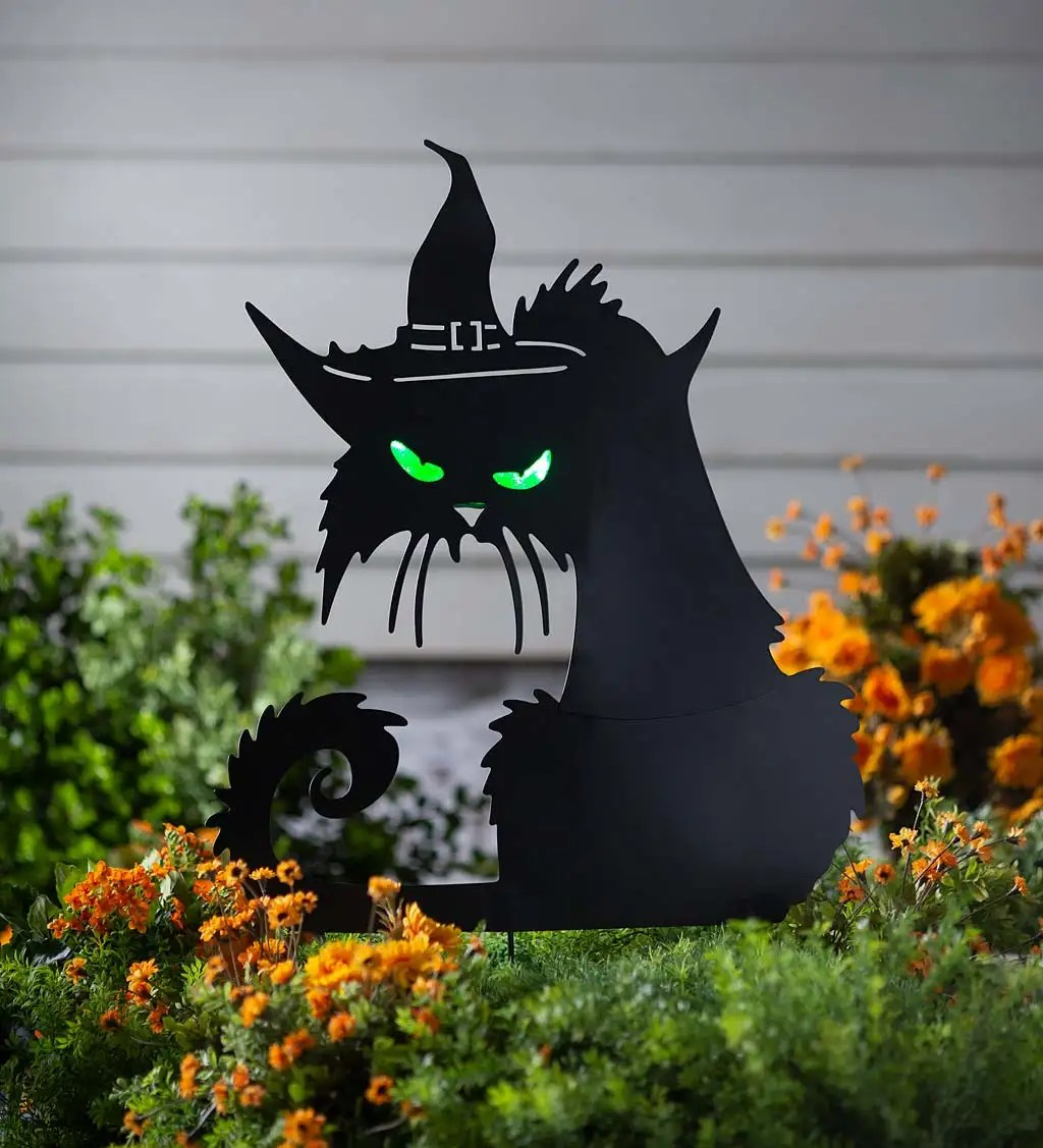 Metal Halloween Cat Silhouette Stake With Lighted Eyes Plowhearth