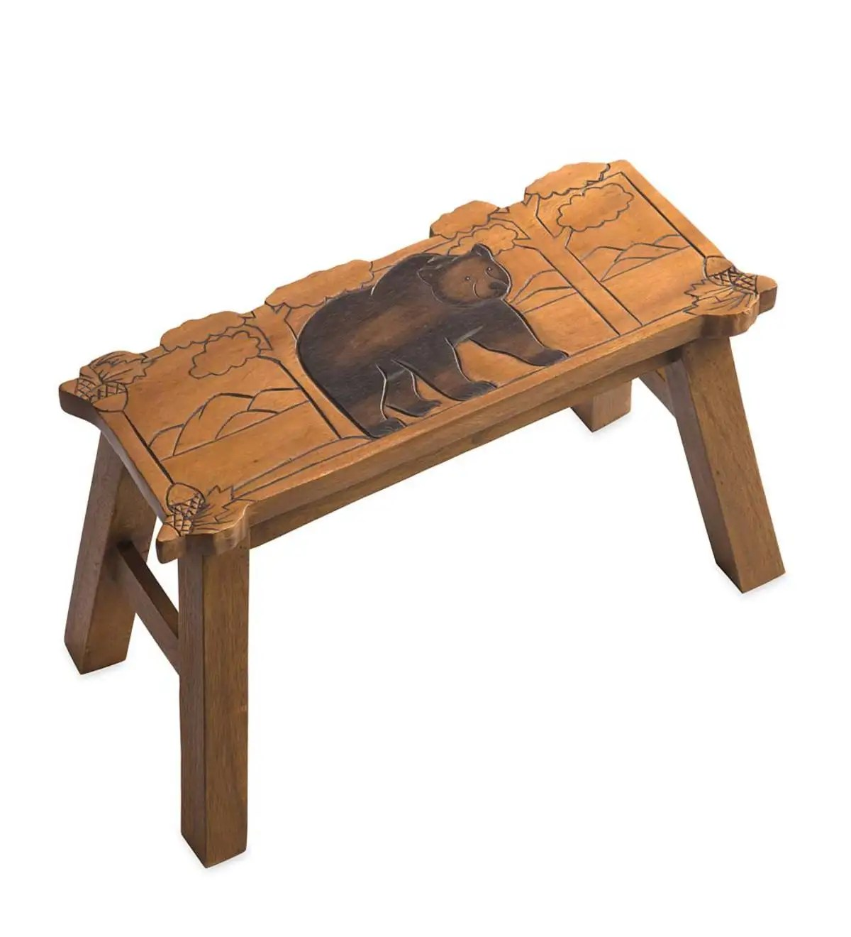 carved wood bear bench