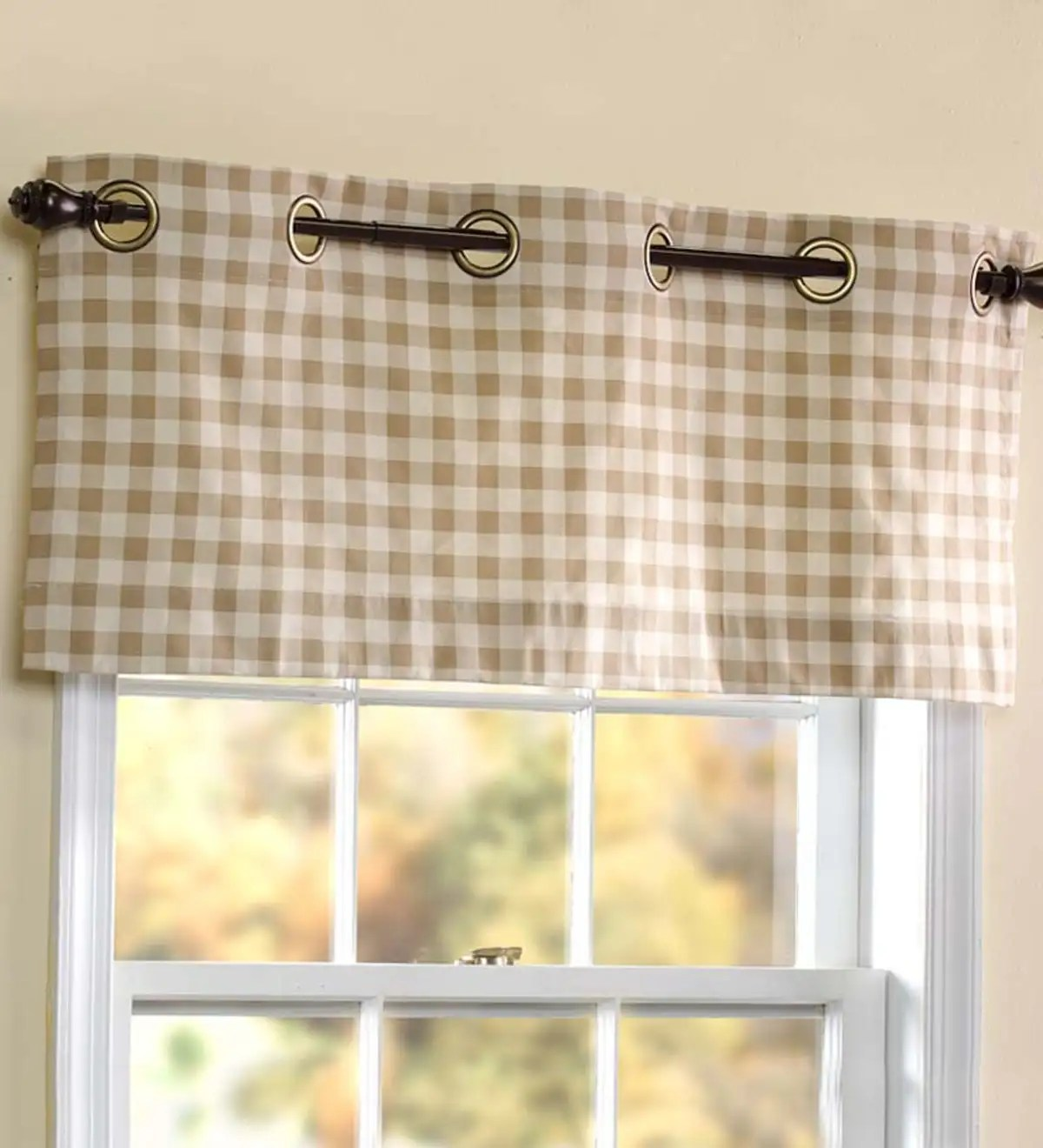Thermalogic Check Grommet Top Valance 40 W X 15 L