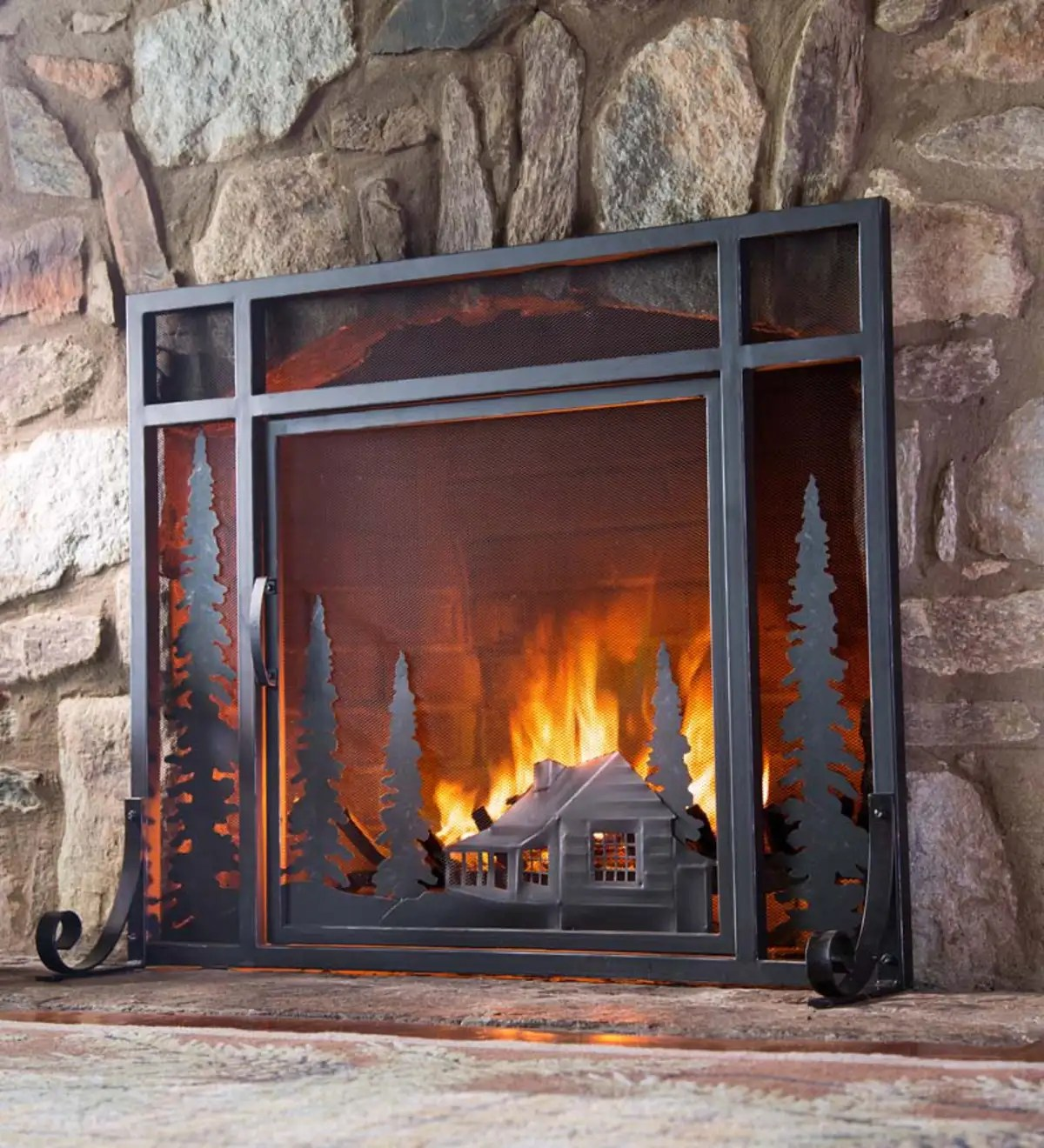 Large Mountain Cabin Fire Screen With Door