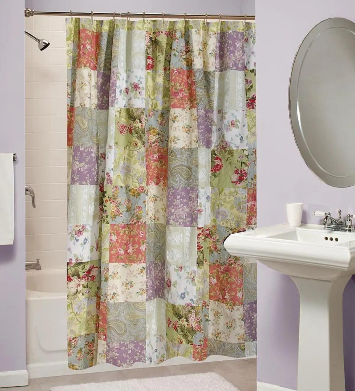 cotton wildflower patchwork shower curtain