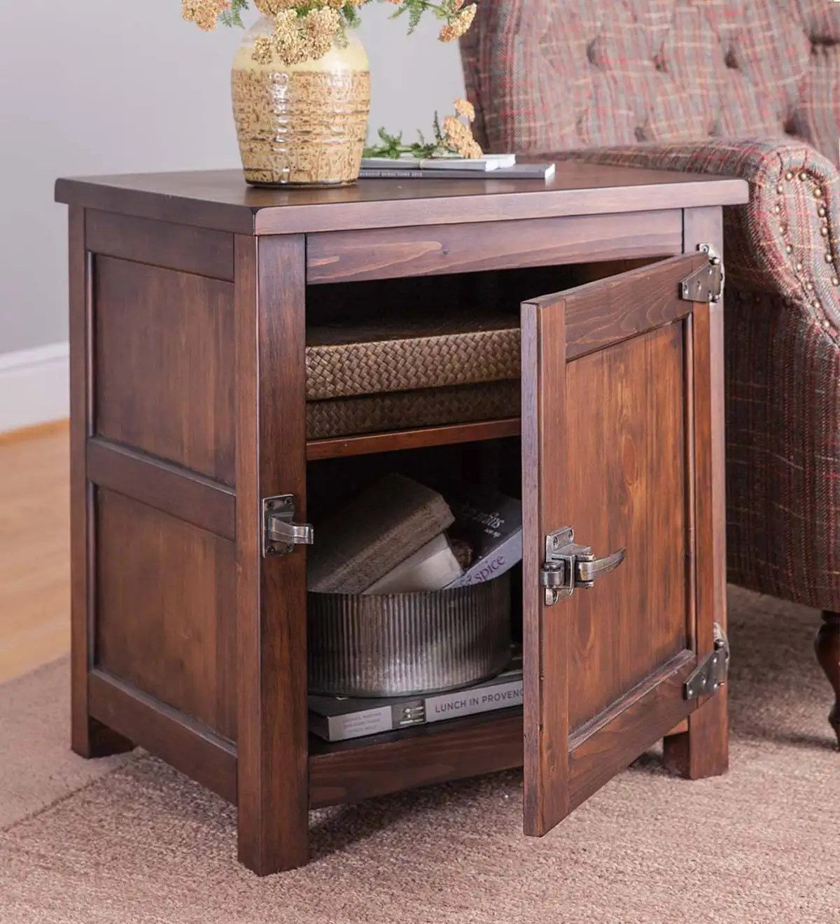 Portland Ice Box Wood Storage Side Table With Replica Hardware Walnut Plowhearth