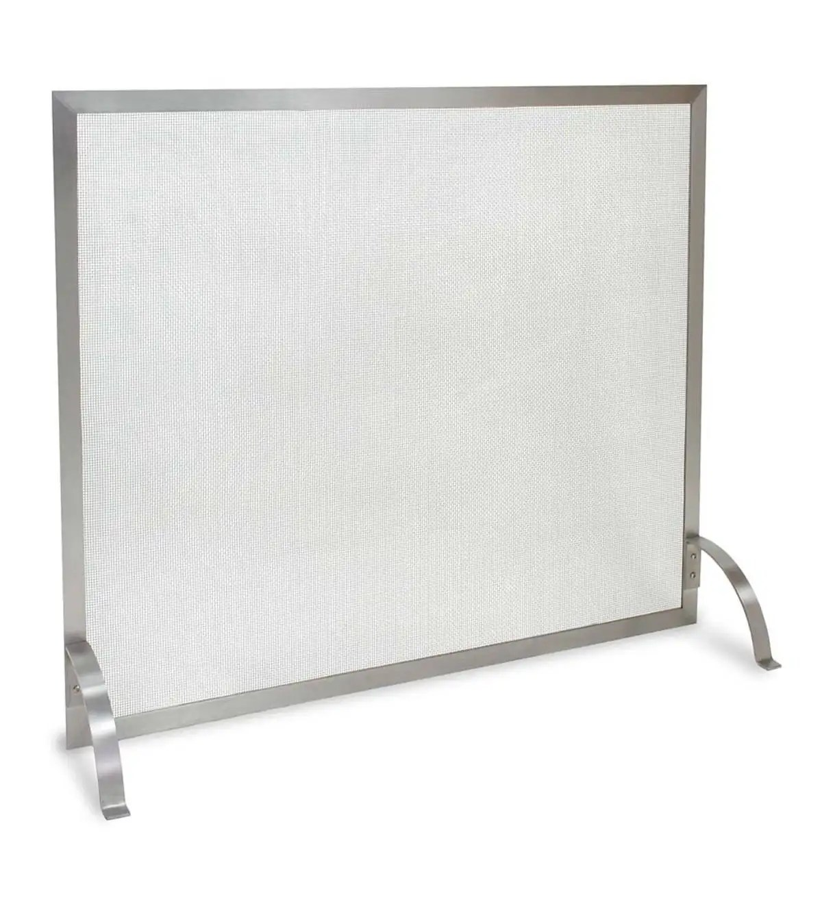 stainless steel newport single panel fireplace screen