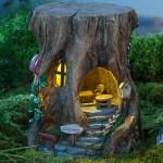 Miniature Fairy Garden Solar Staircase Stump House Plowhearth