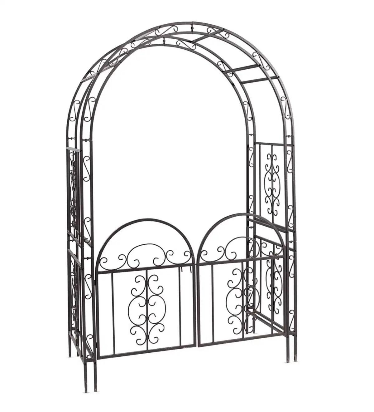 Montebello Scrollwork Metal Garden Arbor with Gate