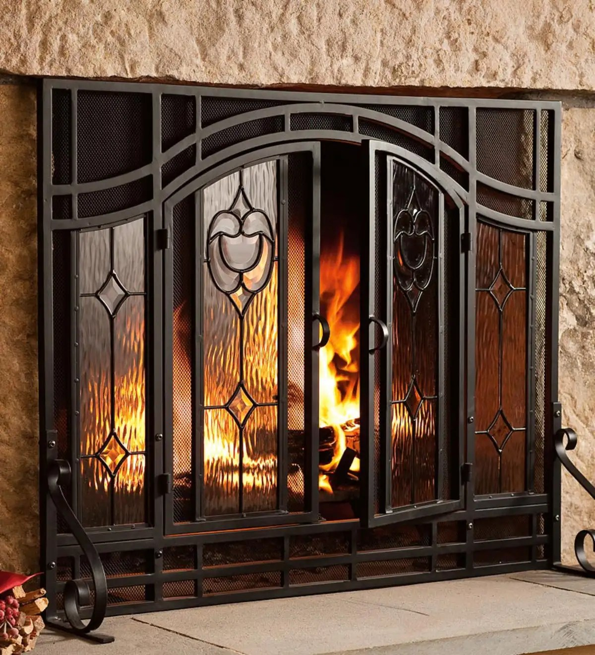 Small Two Door Fireplace Screen With Glass Floral Panels