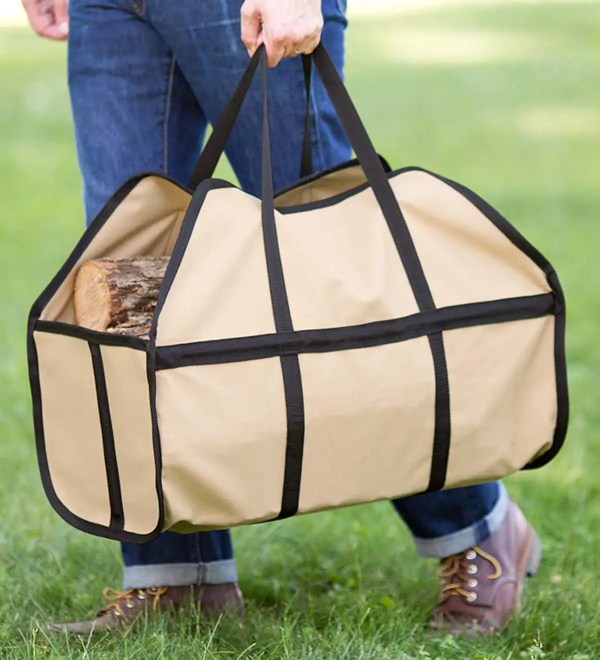 Canvas Log Carrier Tan Carriers Hearth Product
