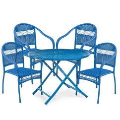 Folding Circle Chairs Sling Tangier Wicker Round Dining Table And 4 Stacking