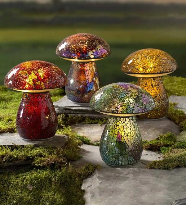 Glass Mosaic Mushroom Lawn Ornament Plowhearth