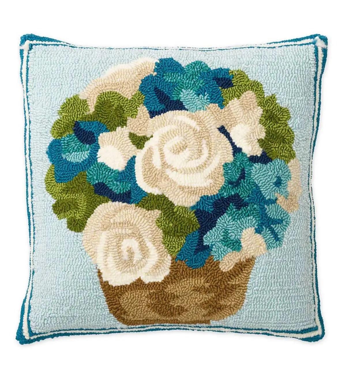 indoor outdoor hooked flower basket throw pillow plowhearth