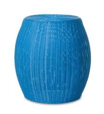 Large Outdoor Wicker Ottoman Pouf - Blue Plowhearth