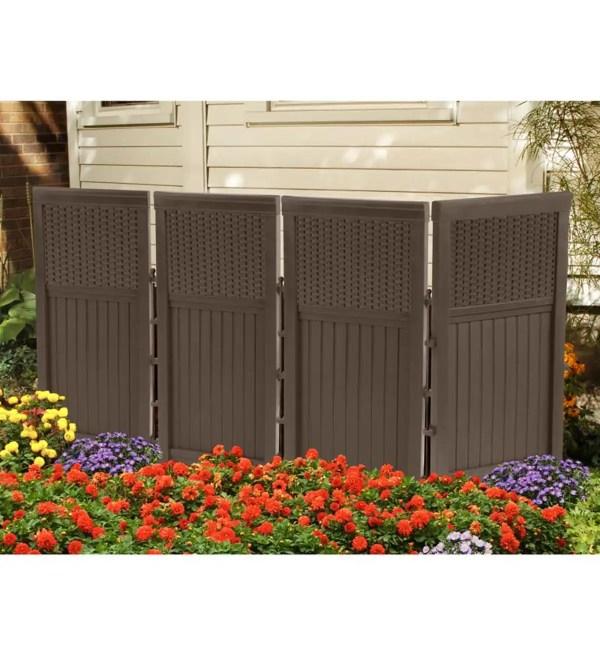 Outdoor Brown Resin Four-panel Privacy Screen Garden