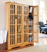 Large Arts and Crafts Style Glass-Front Media Storage ...