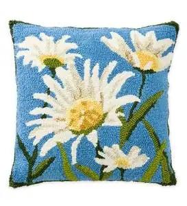 indoor outdoor hooked daisies throw pillow