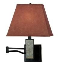 Rustic Space-Saving Swing-Arm Wall-Mounted Reading Lamp ...