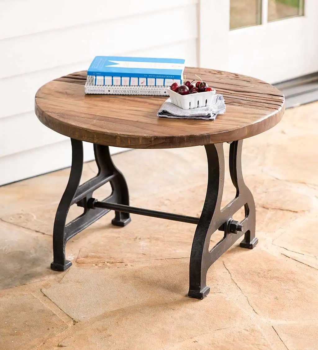 birmingham round end table in reclaimed wood and metal plowhearth